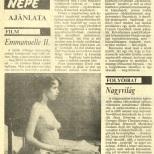 Emmanuelle 2 - Bacs Kiskun Megyei Nepujsag Avril 1990 (Hongrie) copie